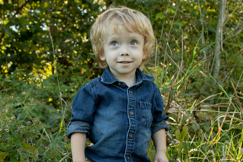 a same blonde boy who had fetoscopic surgery for spina bifida